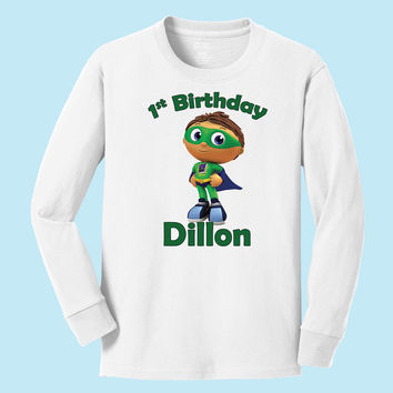 Personalized Super Why Birthday personalized long sleeve T shirt