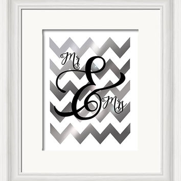 Mr and Mrs, ampersand printable digital art, silver chevron, wedding gift, anniversary, graphic art printable, instant download, diy gift