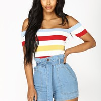Elisabeth Off Shoulder Top - Red/Combo
