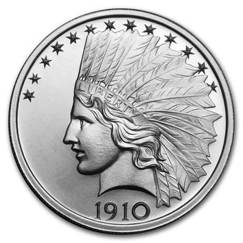 2 oz Silver High Relief Round - $10 Indian