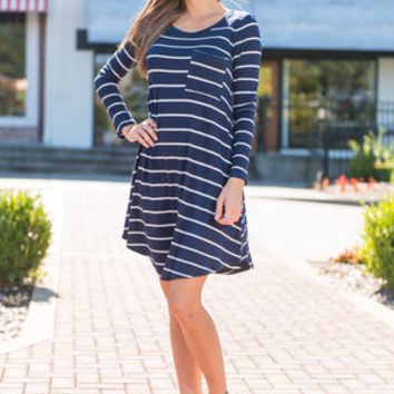 Fab Finds Dress, Navy-White