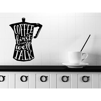Large Wall Vinyl Decal Words on Coffee Pot Quotes About Coffee Shop Decor n1131