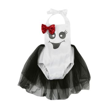 Cute Newborn Infant Baby Girls Sequin Bow Print Romper Halloween Clothes Halloween sequins bowknot