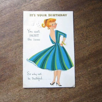 4 Birthday Cards; 1 Unused: 1950s Circle Skirt Girl Card; Japanese Geisha 'Sorry I'm Late' Birthday Card; Old Fashioned Parasol w/ Glitter+