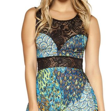 Peacock Printed Flared Dress with Lace Detail