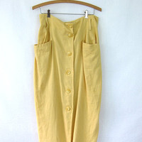 Vintage long yellow button front long EXPRESS Skirt. simple basic big front pockets NORMCORE Preppy Prep skirt M L