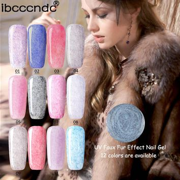 New IBCCCNDC Long Lasting 12 Colors Faux Fur Effect Nail Gel Soak Off UV LED Gel Lacquer Polish for Nail Art Design Nail Vernis