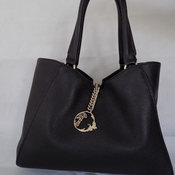 VERSACE Collection Handbag Tote Shopping Bag Black Leather Large