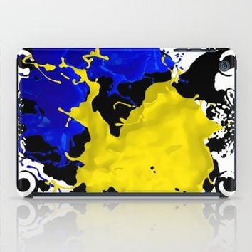 black white blue yellow iPad Case by violajohnsonriley
