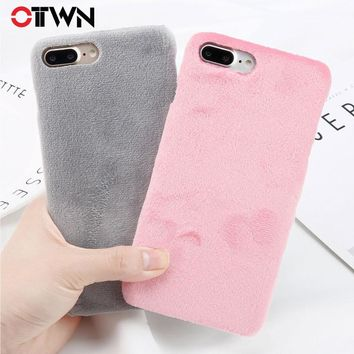 Ottwn Plush Phone Case For iPhone 8 Plus Smooth Hard PC Winter Warm Fur Furry Cover Solid Color Cases For iPhone8 7 6 6s Plus