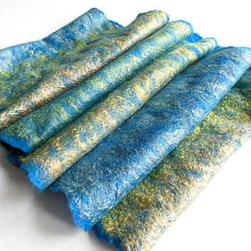 Felted scarf ,hand  felted scarf , thin wool scarf,  merino wool scarf,turquoise green OOAK scarf, one of the kind, unique scarf ,