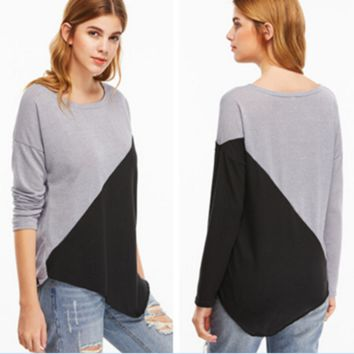 Black and gray Patchwork Slim T-shirt  B0016352
