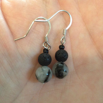 Aromatherapy Essential Oil Diffusing Earrings with Tourmilated Quartz and Lava Stone