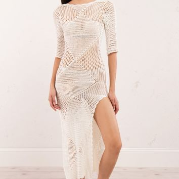 Crochet Maxi Dress with Longsleeves and Open Back