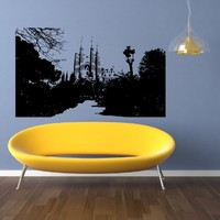 Barcelona Skyline City Sights History Old Picture Wall Sticker Decal 2588