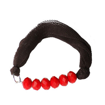 Brown fabric BRACELET - textile bangle with red beads