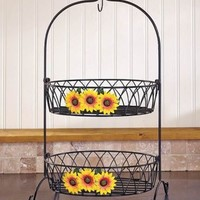 Sunflowers 2 Tier Fruit Basket Country w/ Banana Hook Kitchen Rustic Home Decor