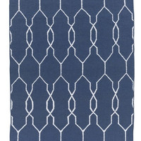 Navy Blue Lattice Outdoor Dhurrie Rug