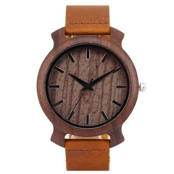 Wooden Watches Men Different Case Shape Bamboo Male Watch With Brown Genuine Leather Quartz Clock Best Simple Gift