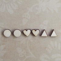 3 Pairs of Tiny Wood Earrings Wooden Studs Heart Circle Triangle Post Studs