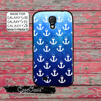 Blue Anchor Pattern Tumblr Inspired Sailor Navy Sea Ocean Beach Cute Custom Galaxy S5 and S4 and S3 Case and Galaxy Note 2 and Note 3 Case