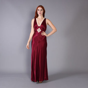 70s does 30s MAXI DRESS / Burgundy Satin & Lace Young Edwardian Gown, xs-s
