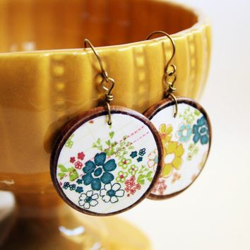 Hippie chic jewelry Lightweight wooden earrings Wood and paper decoupage jewelry Handmade by The Paisley Mill . PeNeLoPe