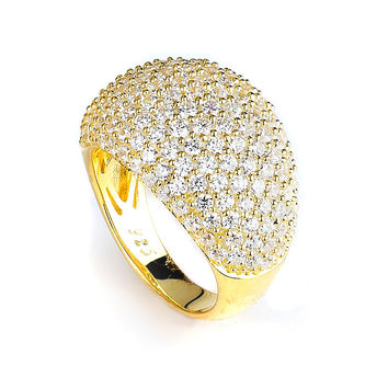Micro Pave Wide Dome Cubic Zirconia Ring (14K Yellow Gold)