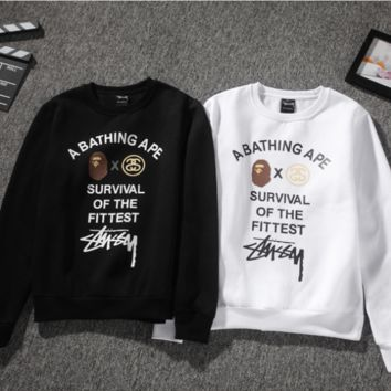 A Bathing Ape Stussy Black & White Long Sleeve Pullovers Sweaters