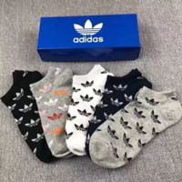 Adidas New fashion letter print women and men socks five pairs of socks five color