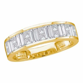 14kt Yellow Gold Women's Princess Baguette Channel-set Diamond Wedding Band 1-2 Cttw - FREE Shipping (US/CAN) - Size 7