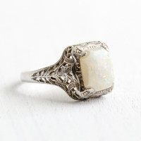 Antique 14k White Gold Art Opal Filigree Ring- Vintage 1920s 1930s Size 6 1/2 Prong Set Fiery Jewelry