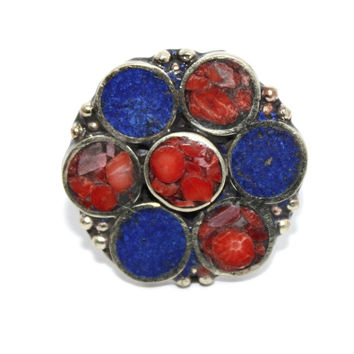 Lapis Flower coral turquoise ring