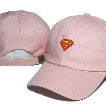 Pink Superman Embroidered Baseball Cap Hat