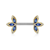 Single Crystal Gold and Blue Three Petal Flower Ends 316L Surgical Steel Nipple Barbells 14ga