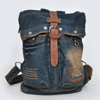 Distressed denim top fold backpack for women