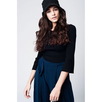 Tight black sweater with 3/4 bell sleeves