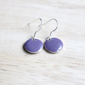 lilac enamel dangle earrings // tiny sterling silver earring - minimalist jewelry for women, girls