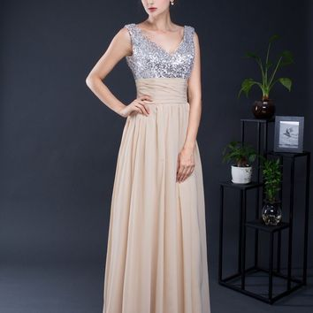 In Stock Size 2-16 Chiffon Bridesmaid Dresses Long A Line Sexy V Neck Bridal Top Sequined Party Gowns Skirt 16288