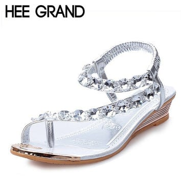 HEE GRAND Women Summer Sandals Bling Beading Plaftorm Wedges Shoes Woman Golden Slid Slip-on Roman Flip Flops Size 35-39 XWZ095