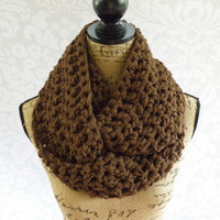Ready To Ship Infinity Scarf Crochet Knit Brown Women's Accessories Eternity Fall Winter