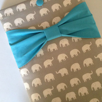 "Macbook Air 11 Sleeve MAC Macbook Air 11"" inch Laptop Computer Cover Case Grey Elephants with Teal Bow"