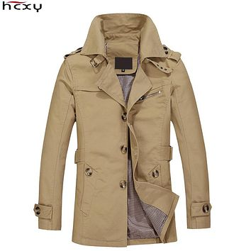 HCXY Brand Male Overcoat Long Jacket Coat Men Men's Trench Coat Trenchcoat Masculina Windbreaker Outwear Cotton Fabric