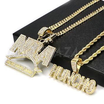 NEW Iced out NBA NEVER BROKE AGAIN HUNCHO Pendant W/ Cuban and Rope Chain Set