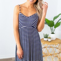 Haisley Striped Dress- Navy