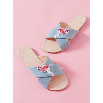 Flamingo Patched Criss Cross Sliders Blue