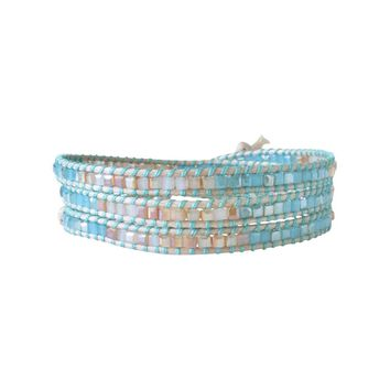 Aqua and Sand Beaded Wrap Bracelet