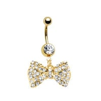 Goldtone Bow Dangle Belly Ring With Stones Belly Button Ring, Belly Ring Bow Goldtone Piercing Free