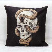 Vintage decorative throw pillows skull cotton linen cover home bedding capa de almofadas 45x45cm