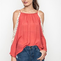 Umgee Ruby Red Lightweight Blouse with Crochet Cut-out Shoulders